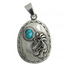 Stainless Steel Oval Pendant With Blue Marble Stone and Rasta Man