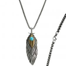 Two-Tone Stainless Steel Feather Pendant with Turquoise Stone Accent
