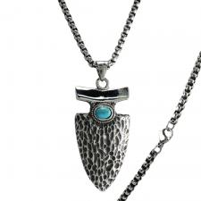 Stainless Steel Arrow with turquoise Stone Necklace