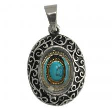 Stainless Steel Oval Pendant With Blue Marble Stone