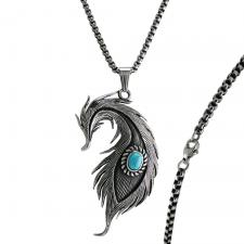 Stainless Steel Long Mystic Feather with turquoise stone Necklace