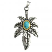 Stainless Steel Hemp Leaf with Turquoise Pendant