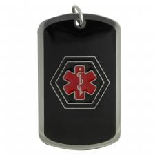 Black and Red Stainless Steel Medical ID Dog Tag