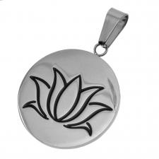 Stainless Steel Circular Pendant with Lotus Flower Engraved