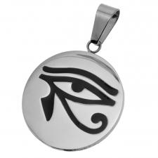 Stainless Steel Circular Pendant with Eye of RA Engraved
