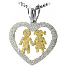 Stainless Steel Cut Out Heart Pendant w/ Gold PVD Boy and Girl Center Image
