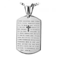 Stainless Steel Dog Tag Pendant w/ Padre Nuestro Prayer Inscription