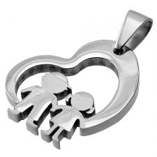 Stainless Steel Cut Out Heart Pendant With Boy and Girl Center Image