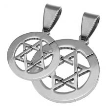 Circular Stainless Steel Pendant with Star of David