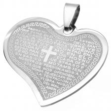 Stainless Steel Heart Shaped Padre Nuestro (Prayer) Pendant