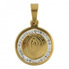 Stainless Steel Gold PVD Virgin Mary CZ Round Pendant
