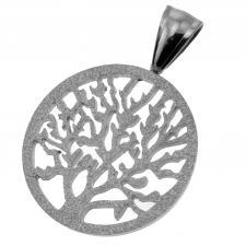 Stainless Steel Tree of Life Pendant w/ Sandblast Finish