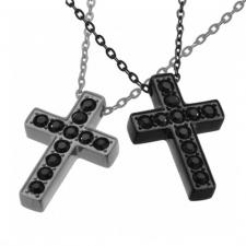 Stainless Steel Jeweled Cross Necklace