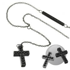 Wholesale Jeweled Cross necklace with Jeweled Side bar