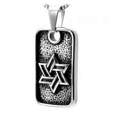 Stainless Steel Judaica Pendant with Star of David