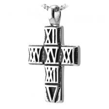 Stainless Steel Cross Pendant with Roman Numbers engraved on Black PVD