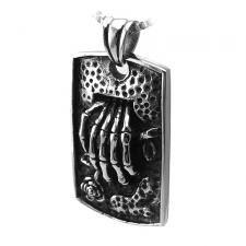 Stainless Steel Pendant with Skeleton Hand on Relief