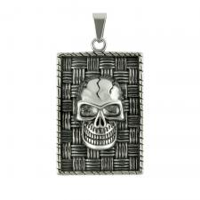 Stainless Steel Large Dog Tag W/ Skull