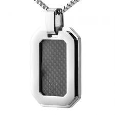Stainless Steel Black Carbon Fiber Dog Tag Pendant