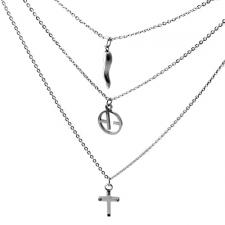 Conjoined Triple Chain Stainless Steel Cascading Necklace w/ Charms - 20 in.