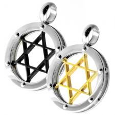 Circular Pendant, Black Steel, Gold PVD, Star of David.