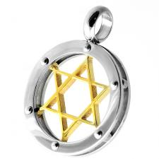 Stainless Steel Star of David Pendant with Gold PVD Coated Center