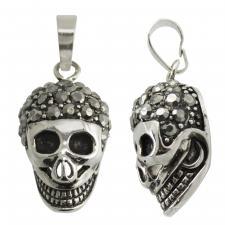 Stainless Steel CZ Skull Pendant