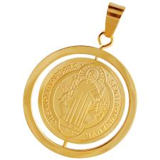 Gold Stainless Steel Spinner Saint Benedict Medal