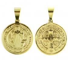Gold Stainless Steel Saint Benedict Medal