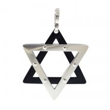 Stainless Steel and black Star of david Pendant