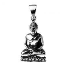 Sitting Buddha Pendant in Stainless Steel