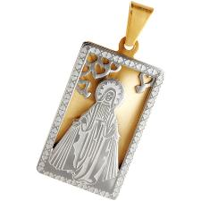 Two-Tone Virgin Mary Pendant with Heart Accents