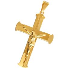 Gold Stainless Steel Pendant Featuring Jesus Christ on the Cross