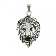 Stainless Steel Lion Head With Red CZ Eyes