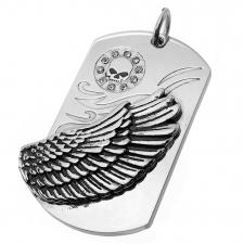 Dog Tag Pendant with Wing and Skull