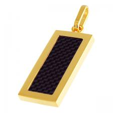 Gold PVD Dog Tag Pendant with Black Carbon Fiber Inlay