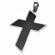 Carbon Fiber and Steel Cross Pendant