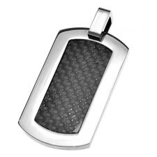 Carbon Fiber and Steel Dog Tag Pendant