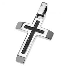 Cross Pendant with Carbon Fiber