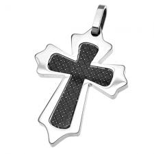 Cross Pendant in Stainless Steel with Carbon Fiber Film