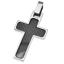 Cross pendant in Stainless Steel and Carbon Fiber Film