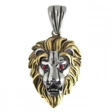 Stainless Steel Two Tone Lion with Red CZ Eyes Pendant