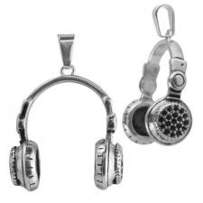 Stainless Steel Hip Hop Headphones with Black CZ Pendant