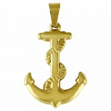 Stainless Steel Gold PVD Anchor Pendant