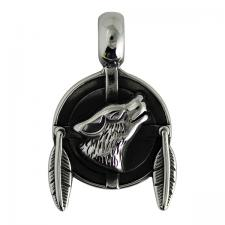 Stainless Steel Native Wolf Pendant