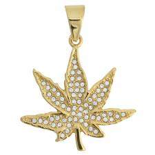 Gold Tone Hemp Leaf Pendant with CZ Accents