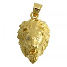 Gold PVD Stainless Steel Lion Head With Jeweled Eyes Pendant