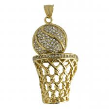 Stainless Steel Gold PVD CZ Basketball Pendant