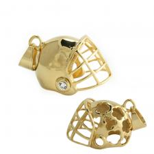 Gold Tone Football Helmet Pendant with CZ and Cut Out Pattern