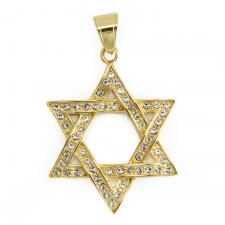 CZ Encrusted Gold Tone Star of David Pendant